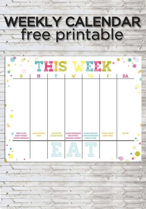 Use this colorful weekly calendar to keep your family on a helpful schedule!