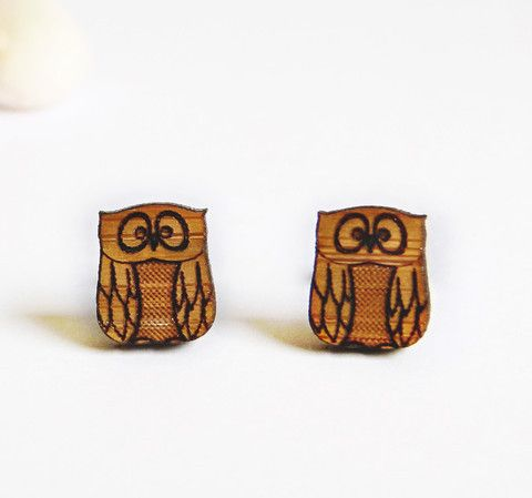 Owl stud earrings | One Happy Leaf | Nell and Oll