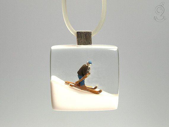 Ski bunny sporty ski figure pendant with a by GeschmeideUnterTeck