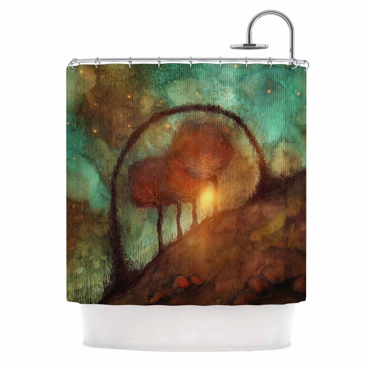 "Viviana Gonzalez ""Track 28: Sunset And Dreams II"" Green Orange Shower Curtain from KESS InHouse"