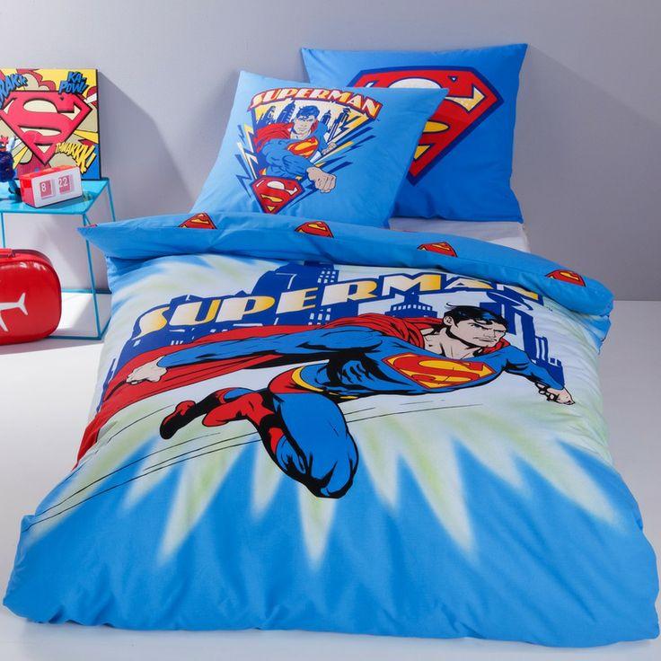 Lot housse de couette + 1 taie d'oreiller SUPERMAN CITY FLASH