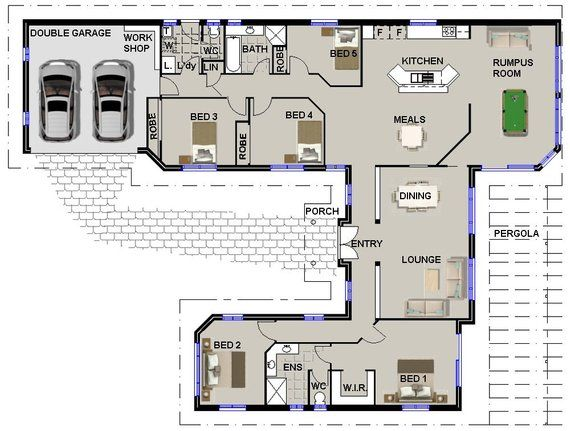 259 M2 5 Bedrooms U Shaped House Plan 5 Bed Large 5 Bed Home Plans Modern 5 Bedroom Design 5 Bedroom Plans Modern House Plans U Shaped House Plans Bedroom House Plans 4 Bedroom House Plans
