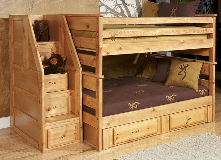 full over full standard bunk bed with stairway chest and storage