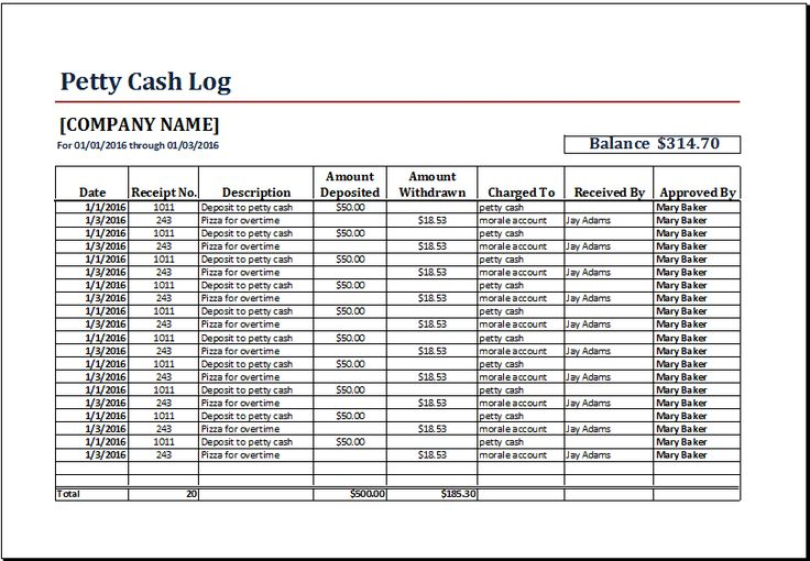 Petty Cash Log Template At Www Xltemplates Org Microsoft