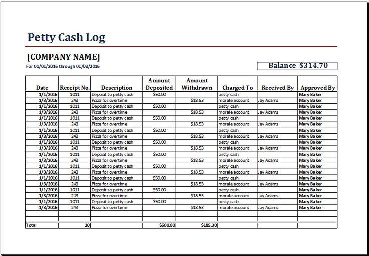petty cash log template at wwwxltemplatesorg Microsoft - petty cash log template