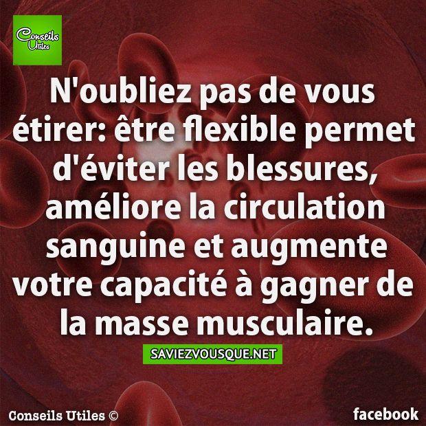 N'oubliez pas de vous étirer: être flexible permet d'éviter les blessures, améliore la circulation sanguine et augmente votre capacité à gagner de la masse musculaire. | Saviez Vous Que?
