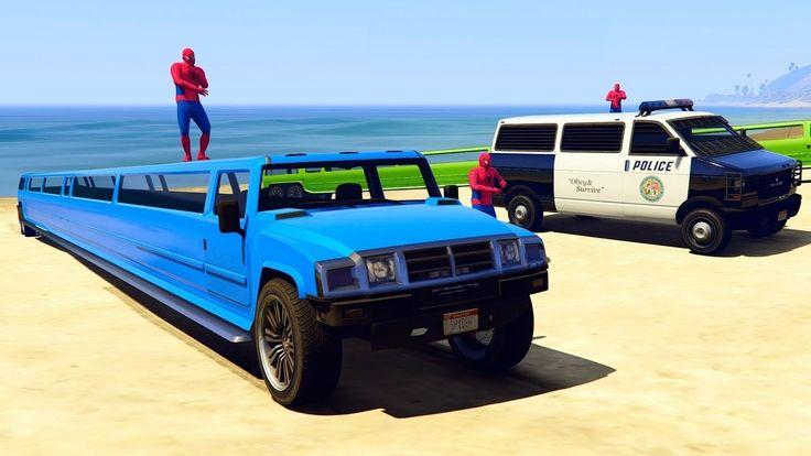 мультфильм для детей - Полицейские машины и цвеные лимузины с Человек паук