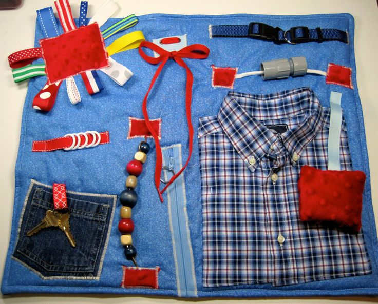 Masculine style Blue Plaid Shirt on Blue Fidget, Sensory, Activity Quilt Blanket by TotallySewn on Etsy