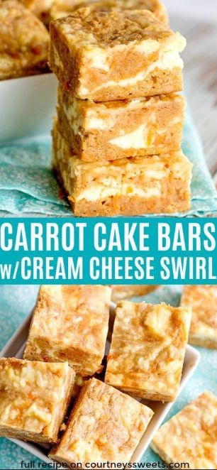 Carrot Cake Bars with Cream Cheese Swirl