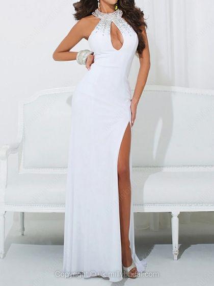 Sheath/Column Jewel Chiffon Sweep Train Split Front Prom Dresses -USD$145.60