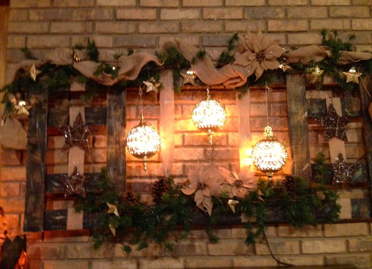 Christmas Decoration. Recycled wood, burlap, star lights, gold lighted ...