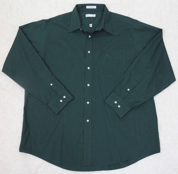 Pierre Cardin Dress Shirt 17.5 34/35 Green Cotton Poly Pocket XL Extra Large Men #PierreCardin #DressShirt