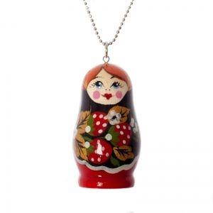 Handmade strawberry matryoshka necklace