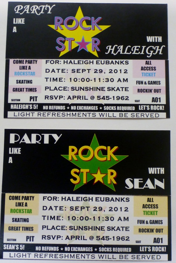 14 best Party ideas images on Pinterest Concert tickets - invitations that look like concert tickets