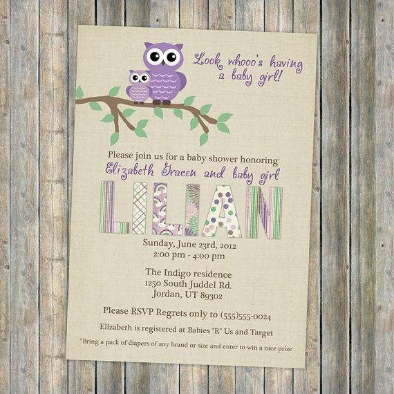 owl baby shower invitations, purple baby shower invitation with owls, Digital, Printable file (purple and sage)