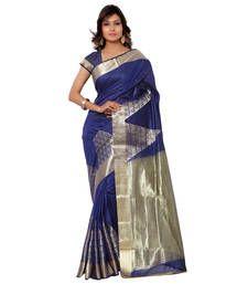Buy Eid Special Navy hand woven banarasi silk saree with blouse banarasi-silk-saree online