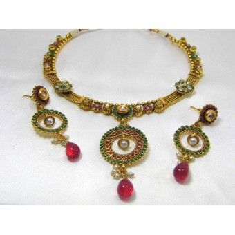 Beautiful Light weight Antique Necklace made of Pearls, American diamond, Ruby Drop and stones