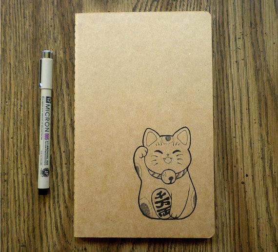 Maneki Neko Moleskine Cahier by PenAndPixels on Etsy, $12.00