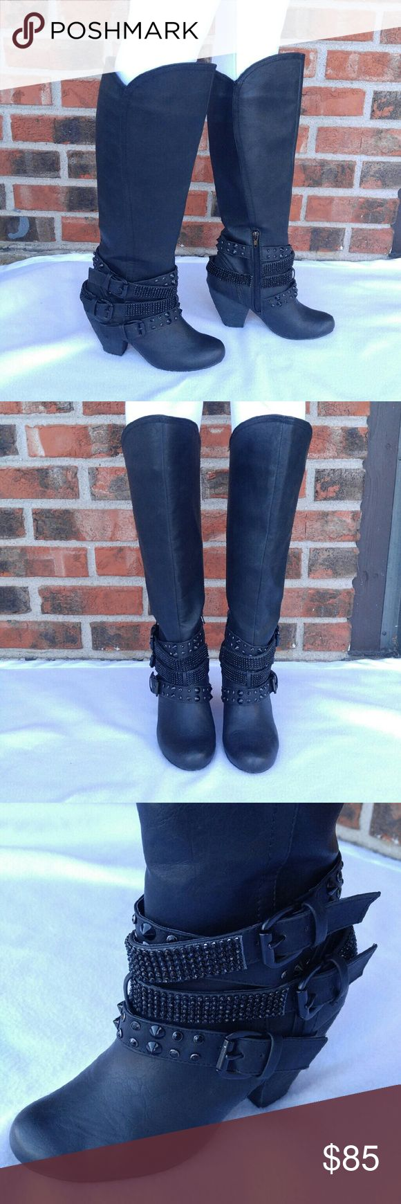 """Not Rated//Cocktail Queen Riding Boots ▫Not Rated Cocktail Queen Riding boots ▫Size 6 ▫Black with rhinestone and spike embellishments, 3 belt strap detail at the ankle ▫Zips from the inner ankle area, zipper measures 6"""" inches ▫Worn for one occasion ▫Pictures DO NOT does these beauties justice!!! ▫Comes with styrofoam inserts and mesh bag protection for both boots ▫Measurements: 18"""" from top to bottom, Heel 3"""" 1/2 inches  ▪Please read description, see all pics, and ask questions before…"""