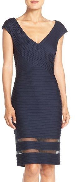 """Tadashi Shoji Mixed Media Sheath Dress  Tiny shutter pleats #smooth and flatter your figure on this #curve-loving #sheath #dress styled with sheer inset panels.      40"""" length (size Medium).     Hidden back-zip closure.     V-neck.     Cap sleeves.     Partially lined.     65% rayon, 30% nylon, 5% spandex.     Dry clean.     By #TadashiShoji imported.     #Special #Occasion. #Cocktail #Dresses"""