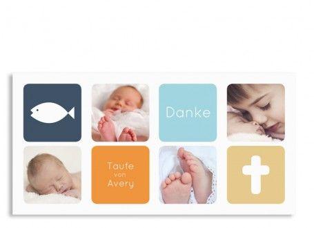 DANKE! Die harmonische Taufkarte Ava/Avery unterstreicht Ihre Danksagung in dezenten Farben!  Auf der Vorderseite dieser DIN-Lang-Postkarte sind vier Fotos Ihres Babys vorgesehen. Hier können Sie zwei Textfelder mit dem Namen Ihres Täuflings und dem Ereignis selbst eintragen. Auf der Rückseite befindet sich ein weiteres großes Foto und eine Textbox für Ihre individuelle Danksagung.