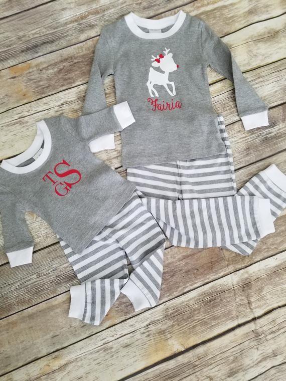 Kids Christmas Pajamas Personalized Holiday Pajamas Christmas Etsy