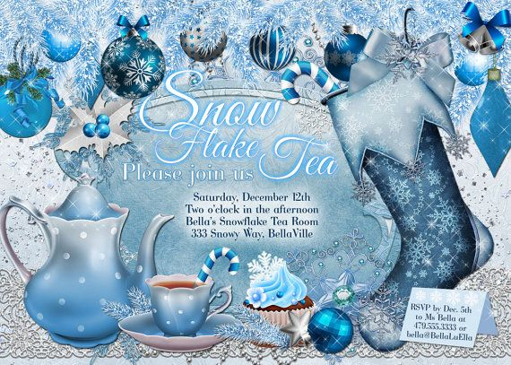 Snowflake Tea Party Christmas Tea Party Invitation by BellaLuElla