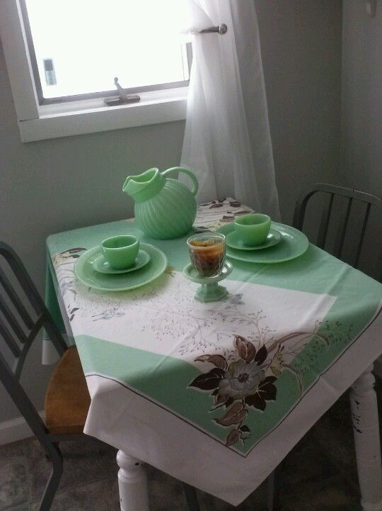 I have a love affair with jadeite and vintage tablecloths.