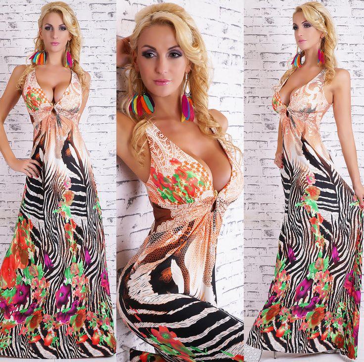 Floral Zebra Maxi Dress in Orange 2