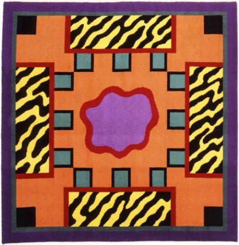 """Nathalie Du Pasquier """"Ecuador"""" 1986  John Armleder, Daniel Dewar   Decorum. Tapis et tapisseries d'artistes   Paris 16e. Musée d'art moderne de la Ville de Paris"""