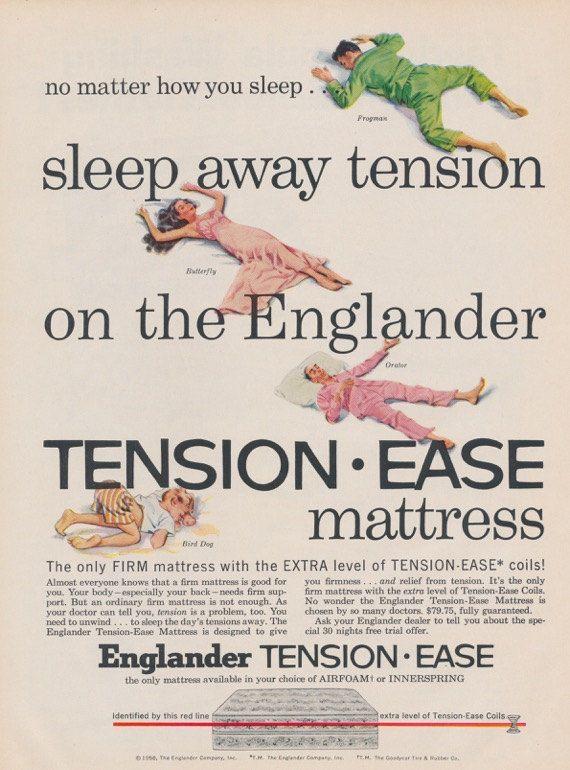 1950s Englander Mattress Ad Funny Sleeping Styles Illustrated Vintage Advertising Print Wall Art Decor