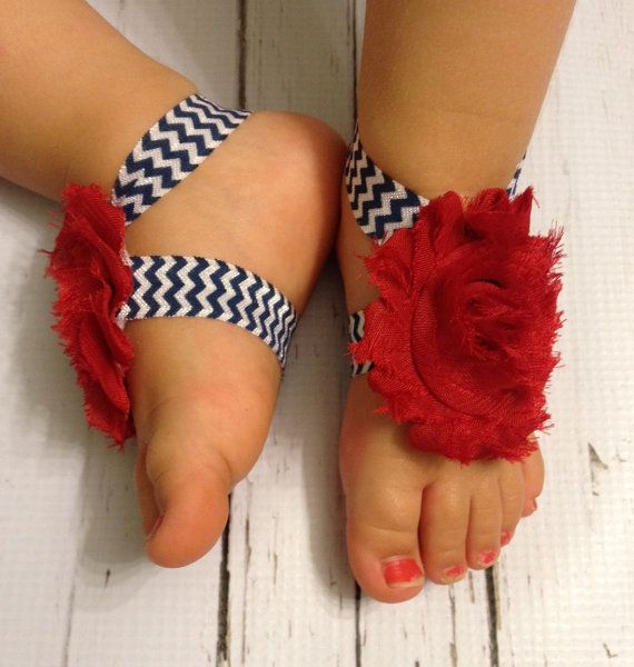 4th of July Baby Barefoot Sandals... Red, Nevy Chevron Baby Barefoot Sandals...
