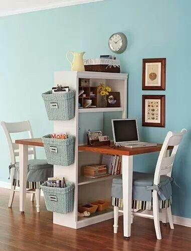 Compact and attractive... I would do file cabinets on one side instead of dual desk space....