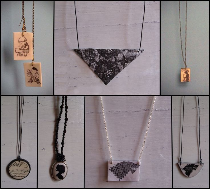 necklaces and earrings (decoupage and transfer)