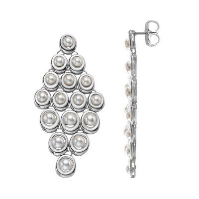 Slane Oval Mesh Pearl Earrings In Sterling Silver Katie Couric Wore Them Super Cute