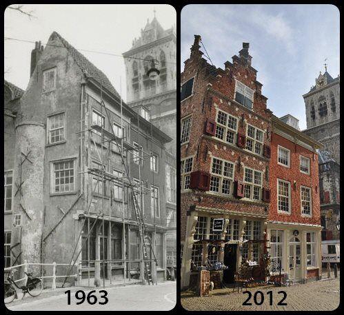 Foto van de Kaerskorf voor en na de restauratie door de Hendrick de Keyser stichting.