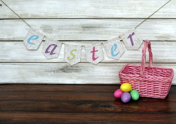 Easter Burlap Banner Mantel Decor / Photography by nhayesdesigns, $22.00
