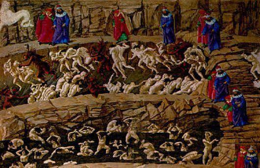 Zeichnung für Dantes Göttliche Komödie - Sandro Botticelli by Zeichnung für Dantes Göttliche Komödie - Sandro Botticelli Diese Zeichnung von Sandro Botticelli, gezeichnet auf Pergament um das Jahr 1481/82, illustriert die Hölle im 18. Gesang der Göttlichen Komödie von Dante Alighieri (ca. 1307-1321 entstanden). Dante und sein Begleiter Vergil sind durch die  ARTatBerlin http://artatberlin.com/portfolio-item/zeichnung-goettliche-komoedie-sandro-botticelli/