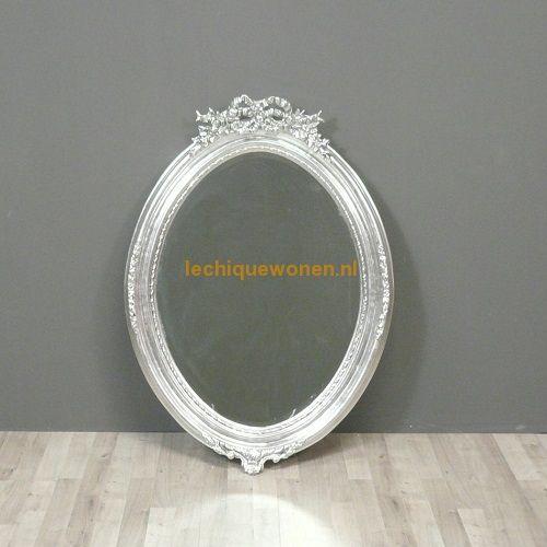 Ovale spiegel zilver barokke stijl van Lodewijk XVI   Le Chique Wonen