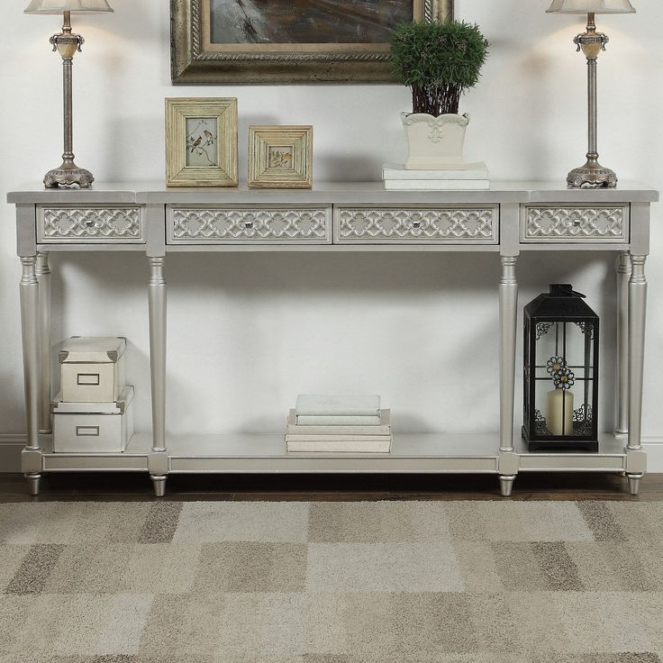 Coast to Coast 70777 Four Drawer Console Table in Margo Silver Leaf