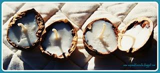 """CANDELE 100% CERA DO SOIA NO OGM realizzate in VERI GUSCI DI NOCI.  Tutte le Nostre Candele sono Totalmente Vegetali, Cruelty Free, Artigianali.  Diffindono una Luce Calda, Complice, Magica.    La Cera di Soia e' completamente Naturale, per questo non produce sostanze tossiche quando brucia;  Inoltre dura il doppio delle """"classiche candele"""" che si trovano sul mercato."""