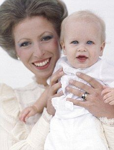 Princess Anne with her son Peter Mark Andrew Phillips, born Nov. 15, 1977. Peter was the first Royal technically born a commoner in 500 years after his father Mark Phillips declined a title and Anne turned down a duchy. He is the eldest grandchild of the Queen.