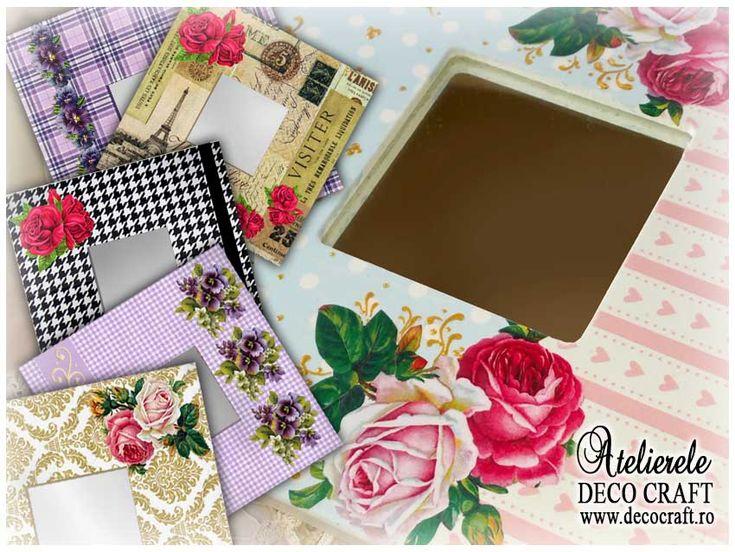 Oglinzi decorate prin Tehnica servetelului si Decupage, realizate la Atelierele Deco Craft http://www.decocraft.ro/ateliere-creativitate/