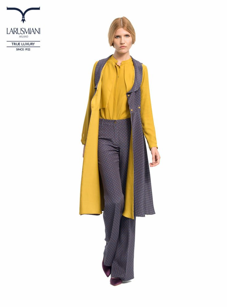 Silk patterned long waistcoat  - Silk blouse  - Silk patterned palazzo trousers - www.larusmiani.it #SS2014 #women #fashion #style #larusmiani
