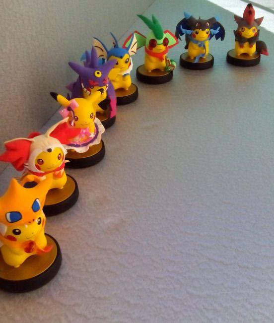Custom Pokemon Pikachu amiibos - View more at http://buyamiibo.com/custom-amiibo-gallery/