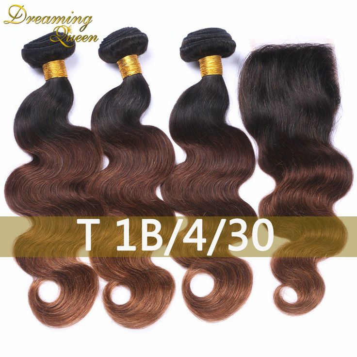 3 Bundles of T1B/4/30 Blonde Ombre Hair Three Tone Brazilian Human Hair Weaves Ombre Brazilian Hair Extensions With Lace Closure