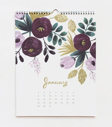 2012 botanical calendar, january, flowers, painting, pretty colours, illustration