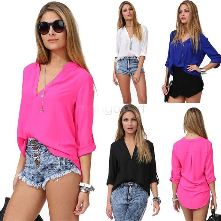 Item Type: Tops Tops Type: Tees Gender: Women Decoration: Button Clothing Length: Regular Sleeve Style: Regular Pattern Type: Solid Style: Casual Fabric Type: Chiffon Material: Polyester Material: Spa