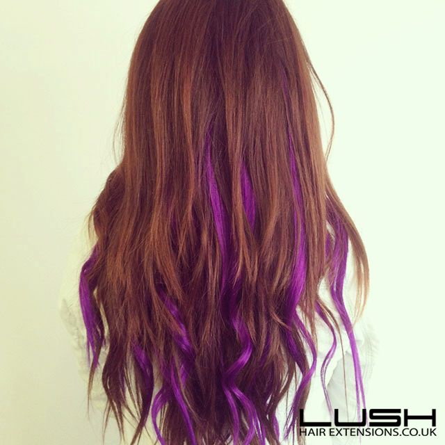 purple brown hair highlights curly waves brunette LOVE
