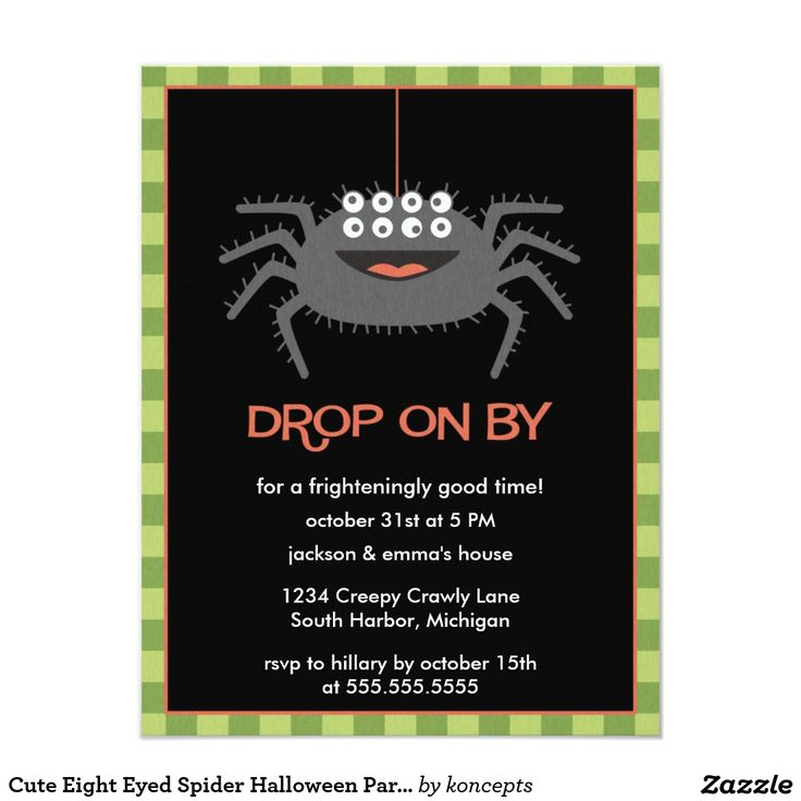 company christmas party invitation templates%0A Cute Eight Eyed Spider Halloween Party Invitations